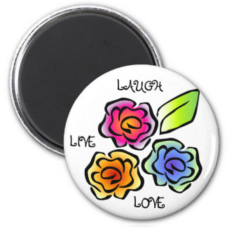 Floral 3 - Live, Laugh, Love 2 Inch Round Magnet