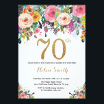 """Floral 70th Birthday Invitation Gold Glitter<br><div class=""""desc"""">Floral 70th Birthday Invitation for Women. Watercolor Floral Flower. Gold Glitter. Pink,  Yellow,  Orange,  Purple Flower. Adult Birthday. For further customization,  please click the """"Customize it"""" button and use our design tool to modify this template.</div>"""