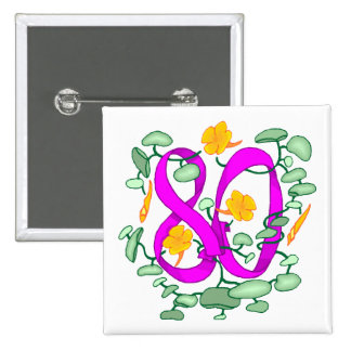 Floral 80th Birthday Gifts 2 Inch Square Button