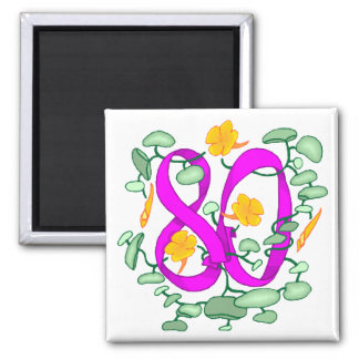 Floral 80th Birthday Gifts Magnet