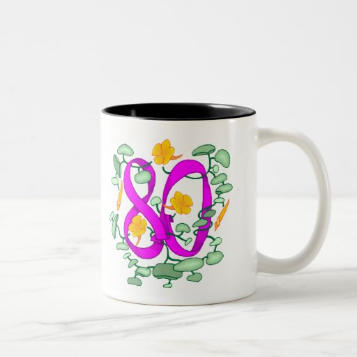Floral 80th Birthday Gifts Coffee Mugs