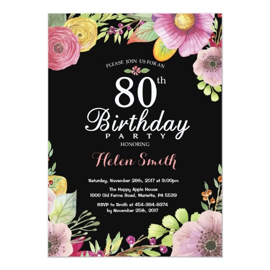 Floral 80th Birthday Invitation For Women