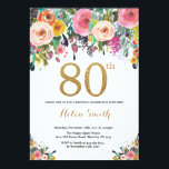 "Floral 80th Birthday Invitation Gold Glitter<br><div class=""desc"">Floral 80th Birthday Invitation for Women. Watercolor Floral Flower. Gold Glitter. Pink,  Yellow,  Orange,  Purple Flower. Adult Birthday. For further customization,  please click the ""Customize it"" button and use our design tool to modify this template.</div>"