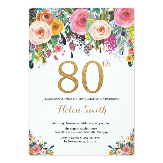 Floral 80th Birthday Invitation Gold Glitter
