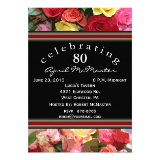 Floral 80th Birthday Party Invitation