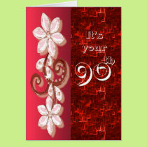 Floral 90th birthday card template