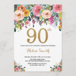 """Floral 90th Birthday Invitation Gold Glitter<br><div class=""""desc"""">Floral 90th Birthday Invitation for Women. Watercolor Floral Flower. Gold Glitter. Pink,  Yellow,  Orange,  Purple Flower. Adult Birthday. For further customization,  please click the """"Customize it"""" button and use our design tool to modify this template.</div>"""
