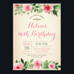 "Floral 90th Birthday Invitation Pink Watercolor<br><div class=""desc"">Floral 90th Birthday Invitation Pink Watercolor Flower. Adult Birthday. Women Bday Bash Invite. Pink Floral Flower. Vintage. 13th 15th 16th 18th 20th 21st 30th 40th 50th 60th 70th 80th 90th 100th, Any Ages. For further customization, please click the ""Customize it"" button and use our design tool to modify this template....</div>"