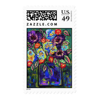 floral abstract 7 stamps
