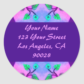 Floral Abstract address label Classic Round Sticker