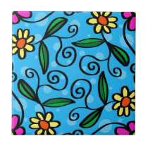 Floral Abstract Ceramic Tile