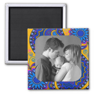 Floral Abstract/Custom Photo 2 Inch Square Magnet