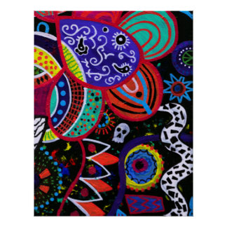 FLORAL ABSTRACT DAY OF THE DEAD PRINT