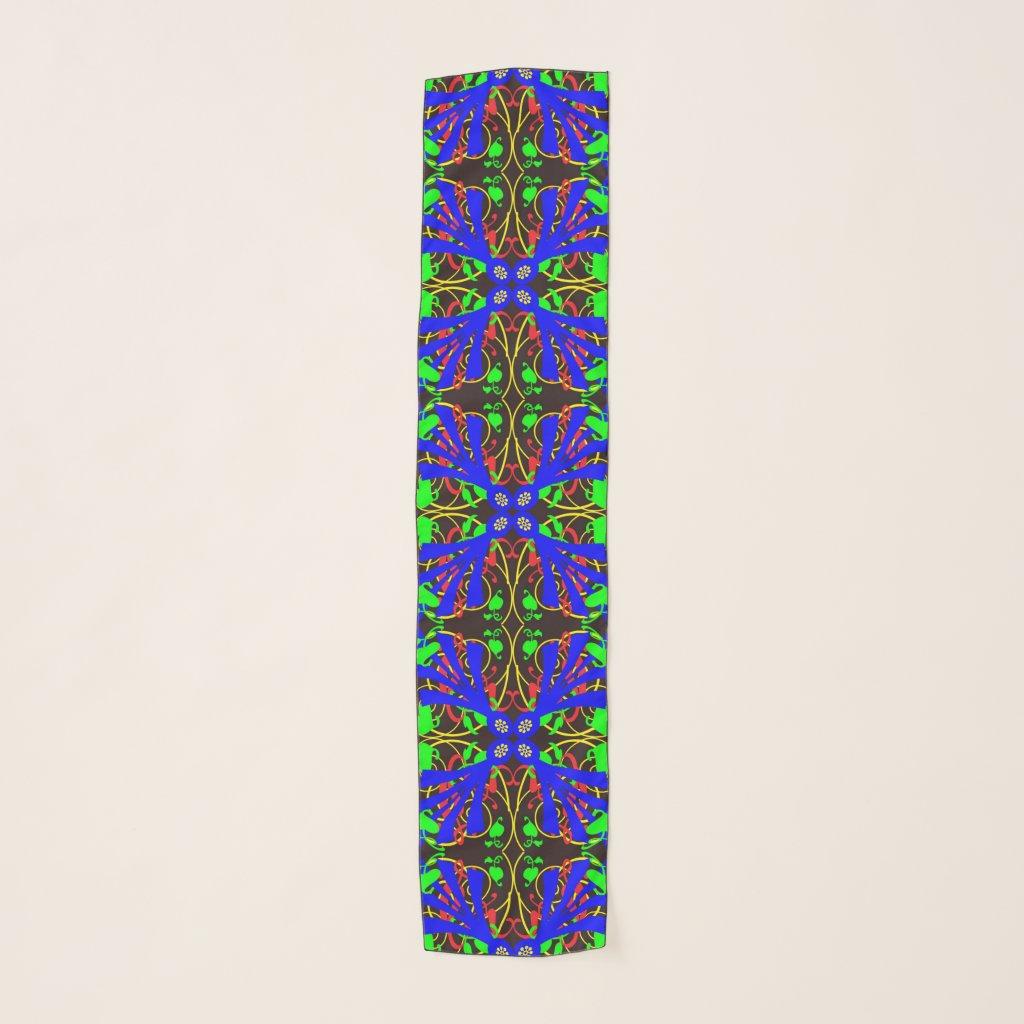 Floral Abstract Mandala Flowers Chiffon Scarf