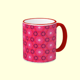 Floral Abstract Red Modern Flowers Hexagon Quilt Coffee Mug