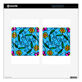 Floral Abstract Skins For Kindle Fire