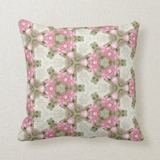 Vintage Inspired Throw Pillows : Floral Abstract Vintage Inspired Botanical Pattern Throw Pillow Zazzle