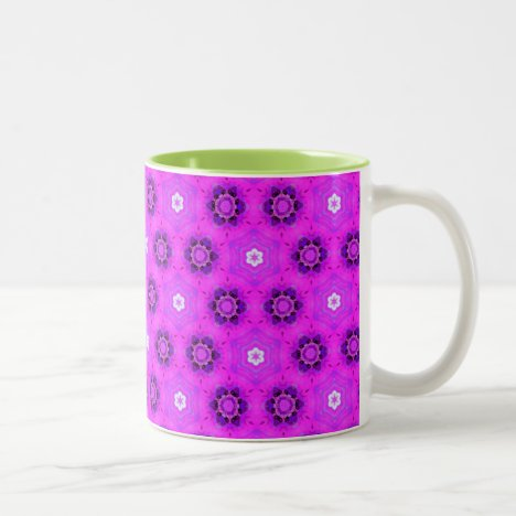 Floral Abstract Violet Modern Flower Hexagon Quilt Two-Tone Coffee Mug