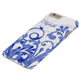 Floral abstracto azul y blanco funda de iPhone 6 plus barely there