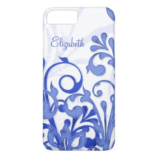 Floral abstracto azul y blanco funda iPhone 7 plus