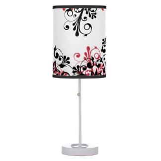 Floral abstracto blanco negro rojo lámpara de escritorio