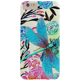 Floral abstracto bonito con la libélula azul funda barely there iPhone 6 plus