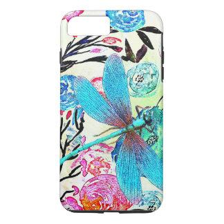 Floral abstracto bonito con la libélula azul funda iPhone 7 plus