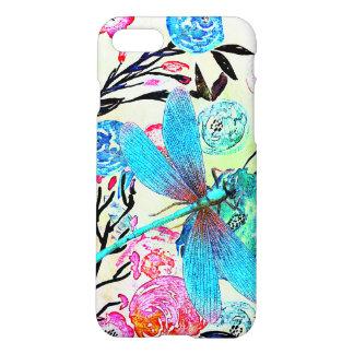 Floral abstracto bonito con la libélula azul funda para iPhone 7