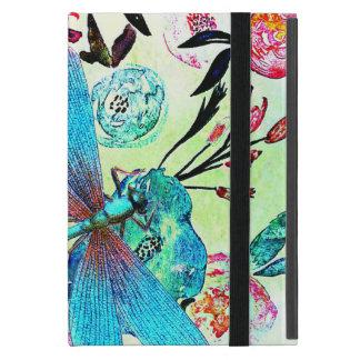 Floral abstracto bonito con la libélula azul iPad mini carcasa