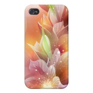 Floral abstracto brillante iPhone 4 carcasas