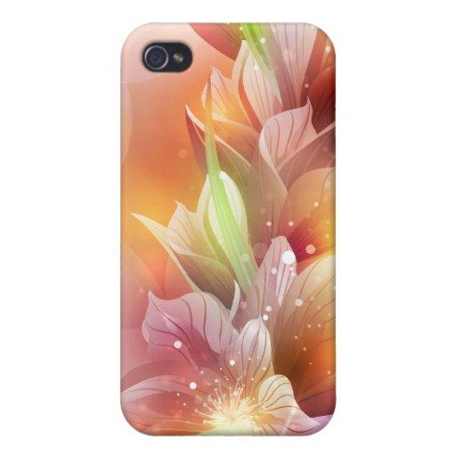 Floral abstracto brillante iPhone 4 carcasa