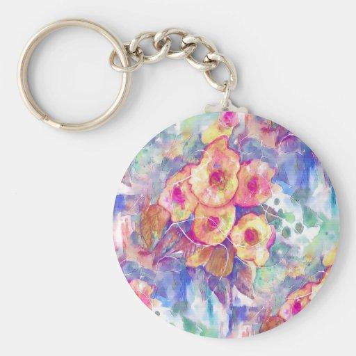 Floral abstracto de la acuarela llavero personalizado