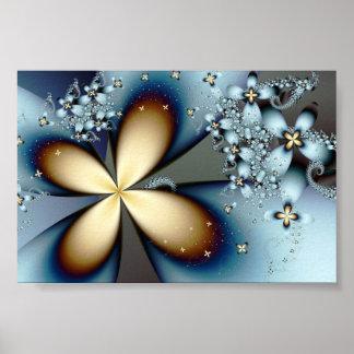 Floral abstracto lindo del oro azul del fractal póster