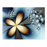 Floral abstracto lindo del oro azul postal