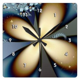 Floral abstracto lindo del oro azul reloj cuadrado