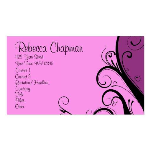 Floral abstracto púrpura tarjetas de visita
