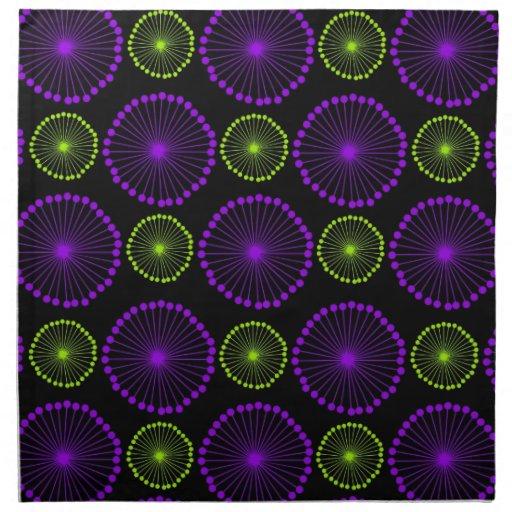 Floral abstracto púrpura, verde, negro servilletas de papel