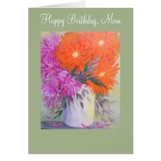 Floral abstracto, tarjeta de cumpleaños para la
