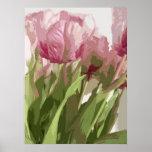Floral abstracto - tulipanes rosados 4 impresiones
