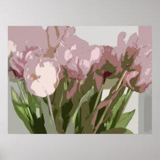 Floral abstracto - tulipanes rosados póster