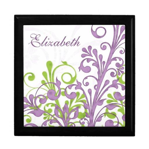 Floral abstracto verde púrpura personalizado joyero cuadrado grande