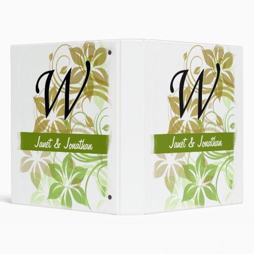 """Floral abstracto verde y beige del monograma de W Carpeta 1"""""""