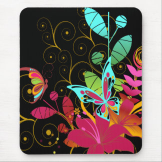 Floral abstracto y mariposas mouse pads