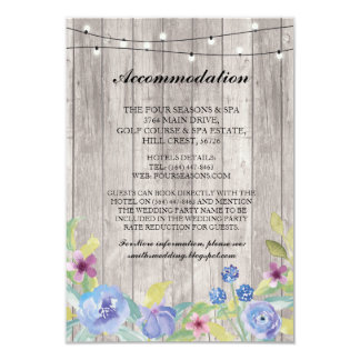 Floral Accommodation Wood Lights Wedding Cards