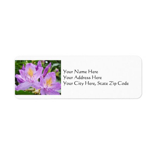 Floral Address Labels Purple Rhododendron Flowers
