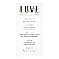 Floral Adorned Text Wedding Menu Card