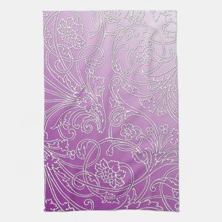 Floral afiligranado grabada en relieve elegante en toallas de mano