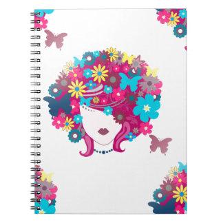 floral afro spiral notebook