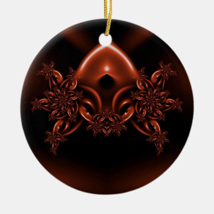 Floral alien mask ceramic ornament