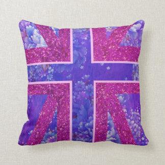 Floral, almohada de Union Jack del brillo